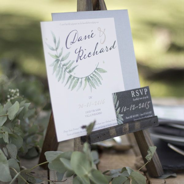 Beautiful Eucalyptus themed Wedding Invitation which includes an RSVP card, a Road Map, a Details page and the Official Invitation.