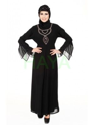 Luxury abaya with antique sequined hand-work necklaced and flouncy embellished cuffs. For $39.99  visit us @ http://www.hayaislamicclothing.com/Women/Abaya-Jilbab/Abaya-122-JB for more color options