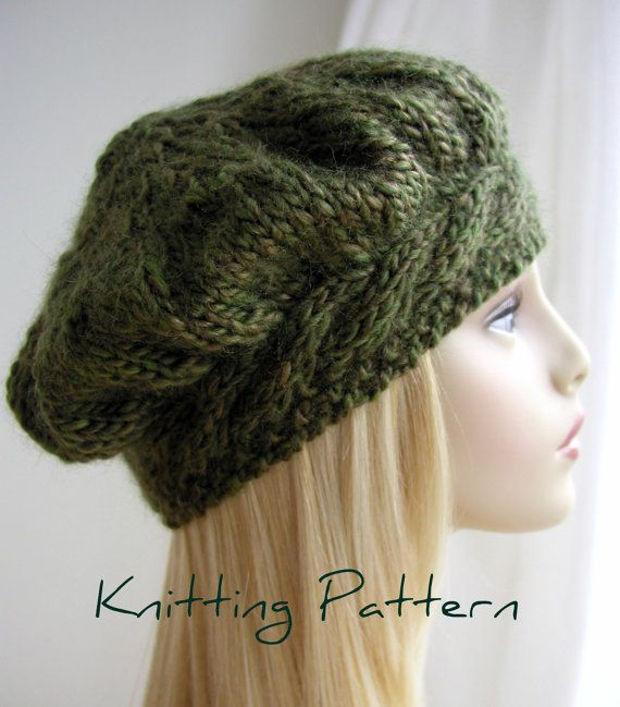 Weekend Cable Beret Tam Hat Knitting Pattern by handknittedthings on Ravelry