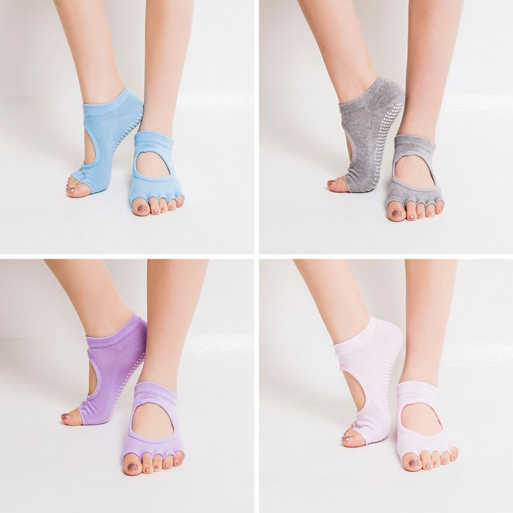 4 Pairs of Non Skid Yoga/Pilates/Aerobics/Barre Socks with Grips