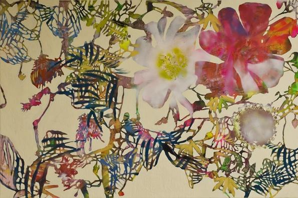 Oil and spray on canvas.  120x180 cm.