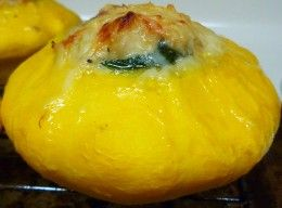 Stuffed Sunburst Squash With chicken & veggies