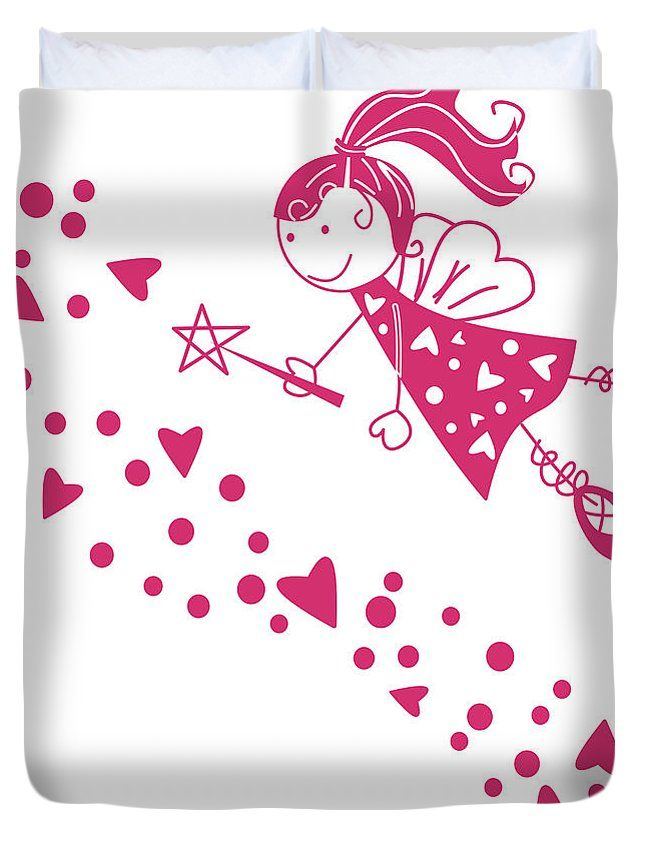 Hada Con Manto De Corazones Duvet Cover by Galeria Zullian  Trompiz.  Available in king, queen, full, and twin.  Our soft microfiber duvet covers are hand sewn and include a hidden zipper for easy washing and assembly.  Your selected image is printed on the top surface with a soft white surface underneath.  All duvet covers are machine washable with cold water and a mild detergent.