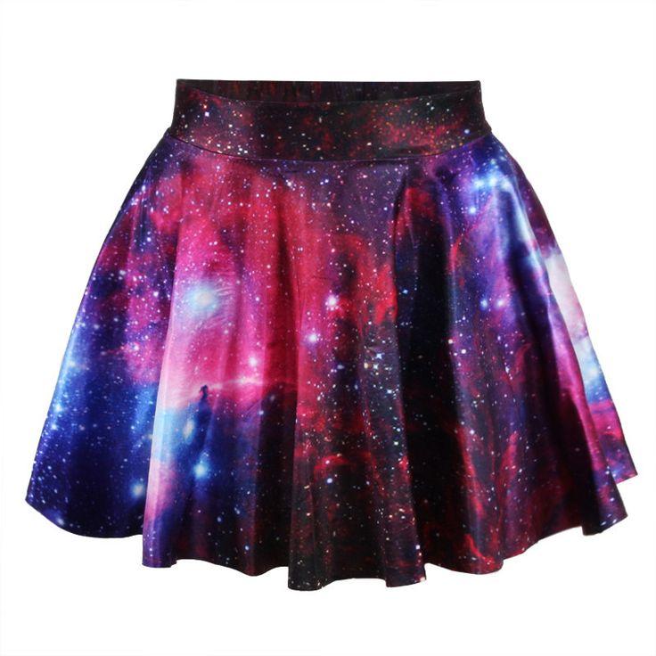 *free ship* pink galaxy print pleated mini skater skirt - 1850121160