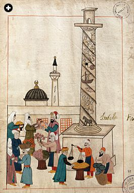 Venetians, Turks and others would have met in markets like this one in the Jerrahpasha district of Constantinople, across the Golden Horn from the Venetians' trading centers. The spiral column shown in this illustration from a 16th-century Ottoman manuscript was erected in about 405 by the Eastern Roman emperor Arcadius.