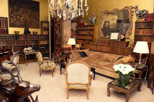 Coco Chanel's home library: Coco Chanel, Paris Apartment, Living Rooms, Elizabeth Taylors,  Eateri, Eating House, Eating Places, Chanel Apartment, Salvador Dali