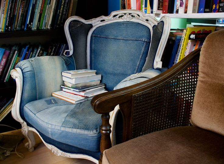 Love this chair. Denim upholstery is a great idea!
