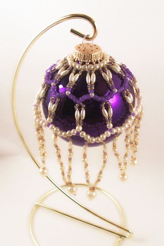 Pearl Ornament Cover Pattern Beading Tutorial in PDF by zaneymay