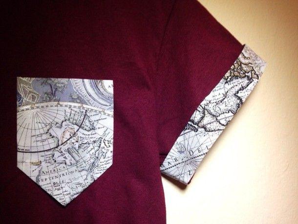 shirt burgundy map t-shirt map print pocket t-shirt
