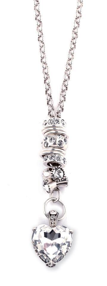 Miglio Precious Basics Burnished Silver Necklace(N1001) with Swarovski Crystal Heart Enhancer (EN9540