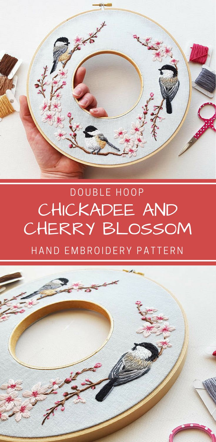 Celebrate spring with this gorgeous design featuring a trio of chickadees surrounded by lovely cherry blossoms. This hand embroidery pattern can be stitched as a double hoop or regular hoop. You can even just stitch a single bird motif if you are looking for a smaller project. PDF instant download #embroidery #hoopart #embroiderypattern