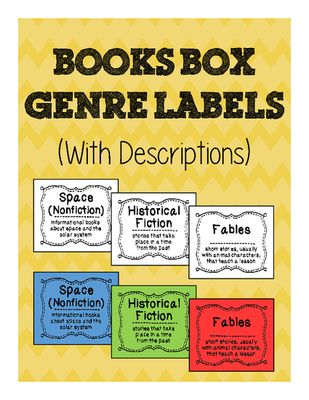 "Book+Box+Genre+Labels+with+Descriptions+for+Classroom+Library+from+Hoots+and+Hollers+on+TeachersNotebook.com+-++(9+pages)++-+This+set+of+34+book+box+labels+will+make+your+classroom+library+easy+to+navigate+and+fun+to+visit!+The+description+on+each+card+will+help+your+students+remember,+for+example,+the+difference+between+a+fable+and+a+folktale.+The+labels+are+3""+wide+and+3"