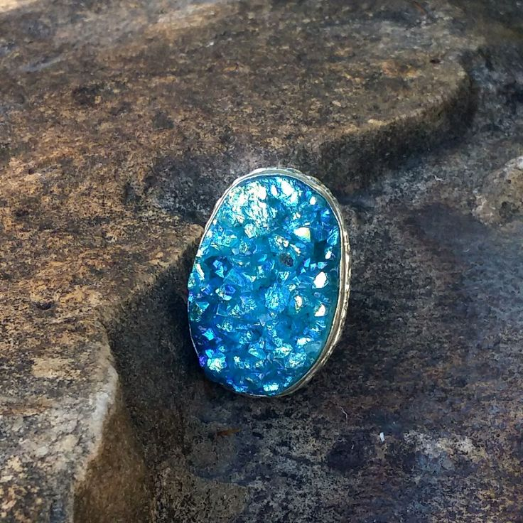 Hand Crafted German and Sterling Silver Cerulean Blue Titanium Druzy Quartz