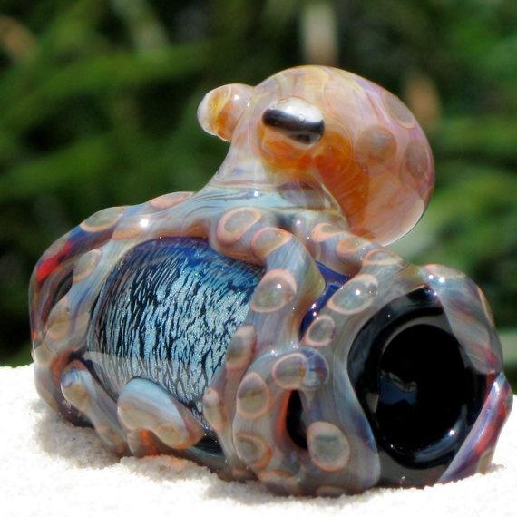 Octopus Dichroic Dread Bead Large Blown Glass by FullBlownGlass, $65.00