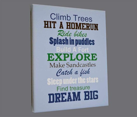 Climb Trees, Explore, Dream Big Typography Wall Art, Canvas Print Navy Red  This is a great piece for your little boys room! The first picture