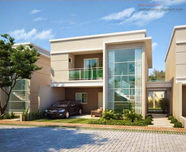Fachadas modernas de d plex fachada duplex pinterest for Casas modernas planos y fachadas