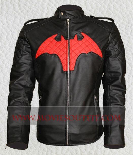 batman beyond mens black leather jacket superhero jacket slimfit jacket #fashion #batman #coseplay