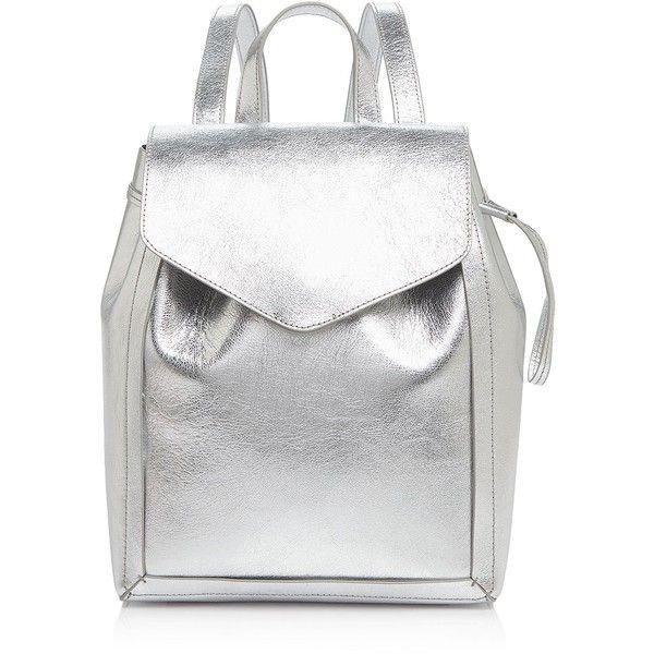 Loeffler Randall Mini Metallic Backpack ($290) ❤ liked on Polyvore featuring bags, backpacks, backpack, white backpack, mini bag, metallic backpack, leather bags and mini backpacks