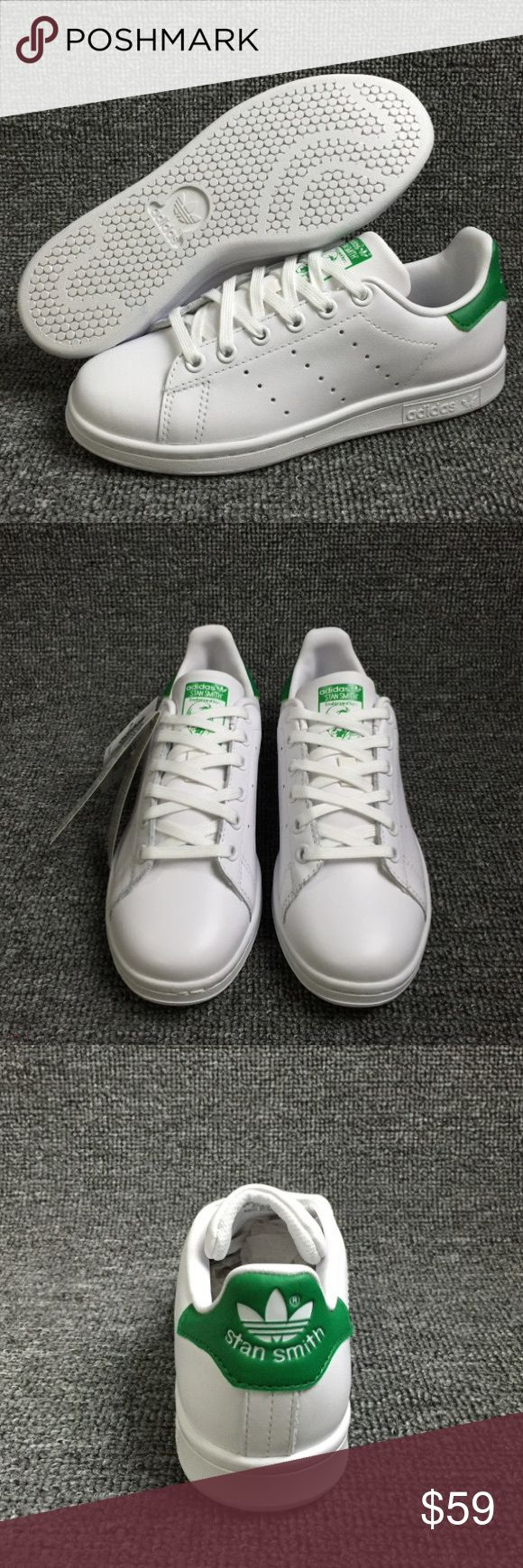 New Adidas Stan Smith Sneakers White Green Unisex Size women 5, 5.5, 6, 6.5, 7, 7.5. ------men 7, 7.5, 8, 8.5, 9, 9.5, 10======if you have any questions, please email me. (fisherlive2012#hotmail.com, @ instead of # ) Adidas Shoes Sneakers