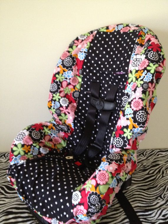 TODDLER Car Seat Cover FLOWERS & polka DOTS. $35.00, via Etsy.