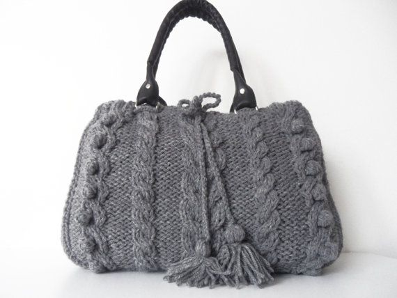 gray  Handbag  Shoulder bag knit bag  with adjustable by Sudrishta, $80.00