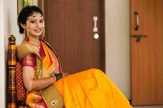 Marigold yellow and pink paithani silk saree with over-the-neck silk dupatta!