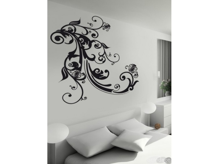 Permanent link to white living room with artistic black wall sticker
