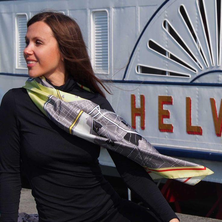"Designer Silk Scarf - map of Geneva ""Platinum sun"". Premium quality silk, limited edition, swiss brand"