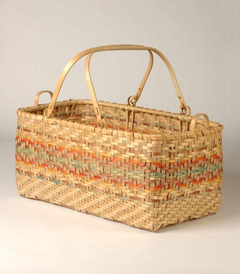 Market Basket, black ash splints, 1978. Edmund Pigeon (Potawotami)