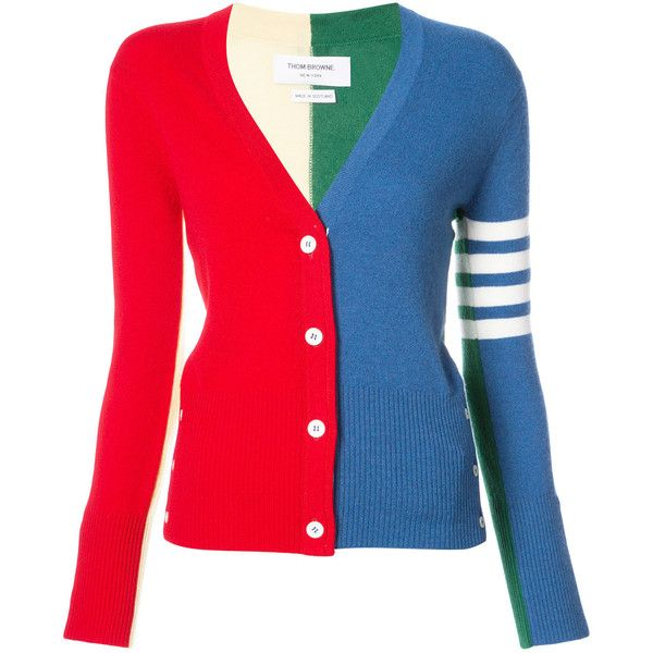 Thom Browne Classic V-Neck Cardigan With Funmix Intarsia & 4-Bar... ($1,755) ❤ liked on Polyvore featuring tops, cardigans, multicolour, thom browne cardigan, multi color cardigan, cashmere cardigans, red top and stripe top
