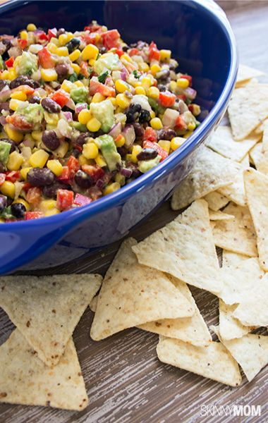 Yummy and healthy black bean, corn and avocado dip!
