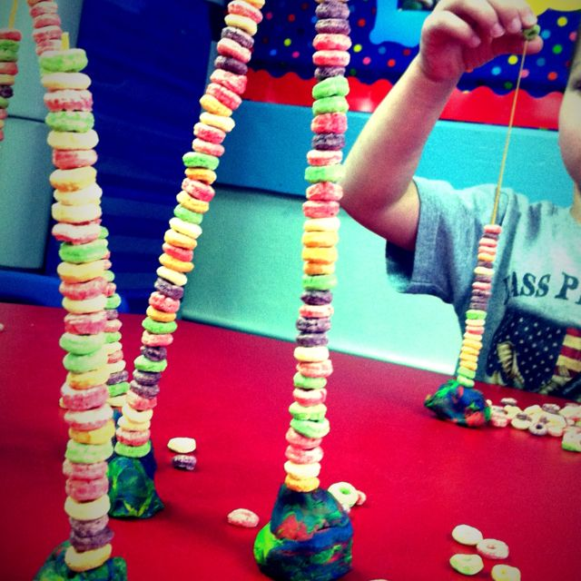"""Students loved constructing """"beanstalks"""" as content connection activity to Jack and the Beanstalk."""