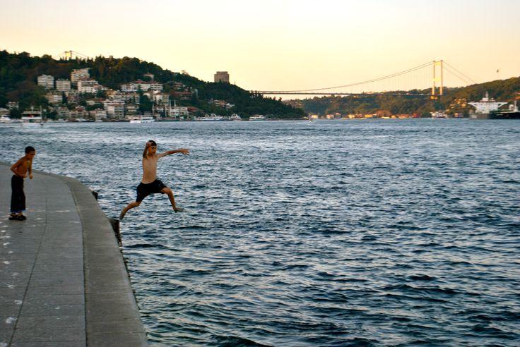 Little boys, grate panorama   Istanbul, Turkey