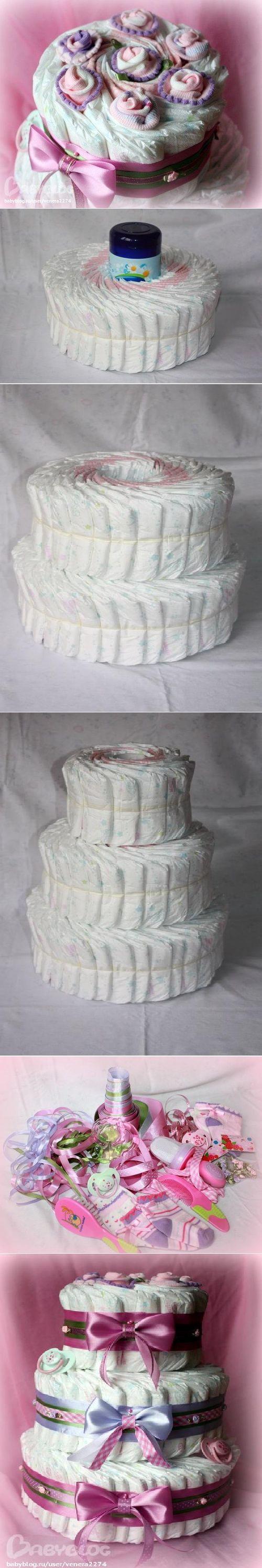 DIY Newborn Diaper Cake DIY Projects / UsefulDIY.com