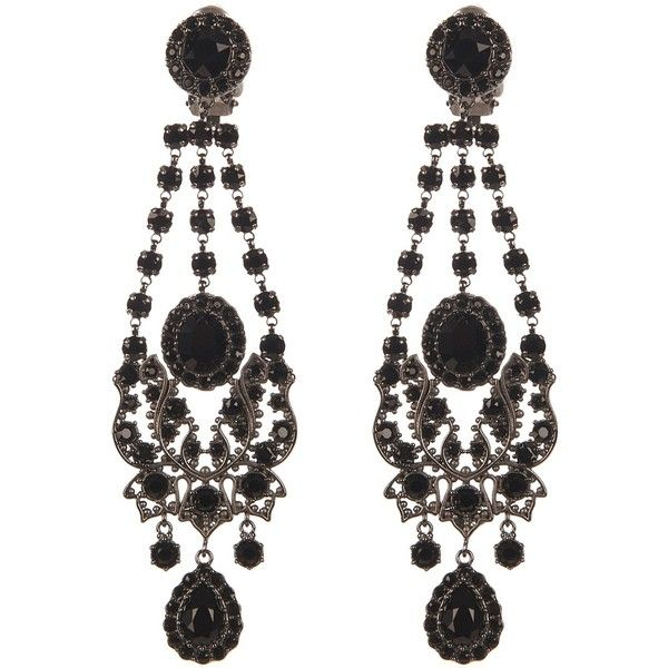 Givenchy Victorian-style chandelier earrings (3.080 BRL) ❤ liked on Polyvore featuring jewelry, earrings, goth earrings, black earrings, givenchy jewelry, gothic jewelry and chandelier earrings