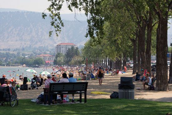 Okanagan Beach in the city of Penticton BC.  A beautiful beach on Okanagan Lake.