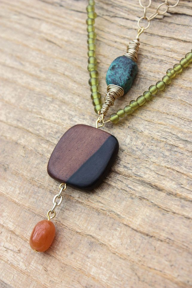 Turquoise, Ebony Square and Carnelian Drop Beaded Necklace £25.00