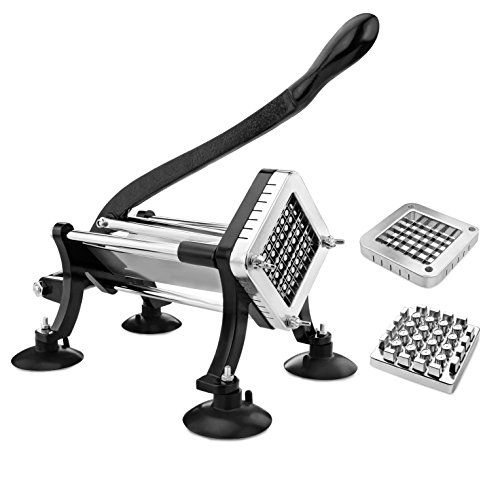 $70.49 on Blinq New Star Foodservice 43204 Commercial Grade French Fry Cutter with Suction Feet, 1/2 Inch and 3/8 Inch Blades, Limited Edition Black