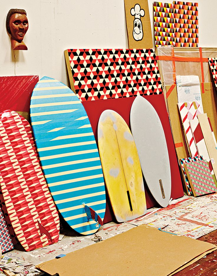 Painted surfboards, part of an installation in McGee's survey at the Berkeley Art Museum.