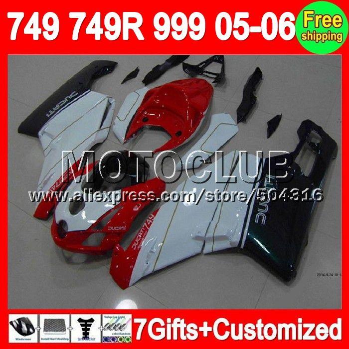 Красный зеленый 7 подарки + для DUCATI 749 - 999 05 - 06 749 S 999 S 749R 749 999 7C31 999R 749 2006 2005 - 2006 05 06 2005 зализа красный белый