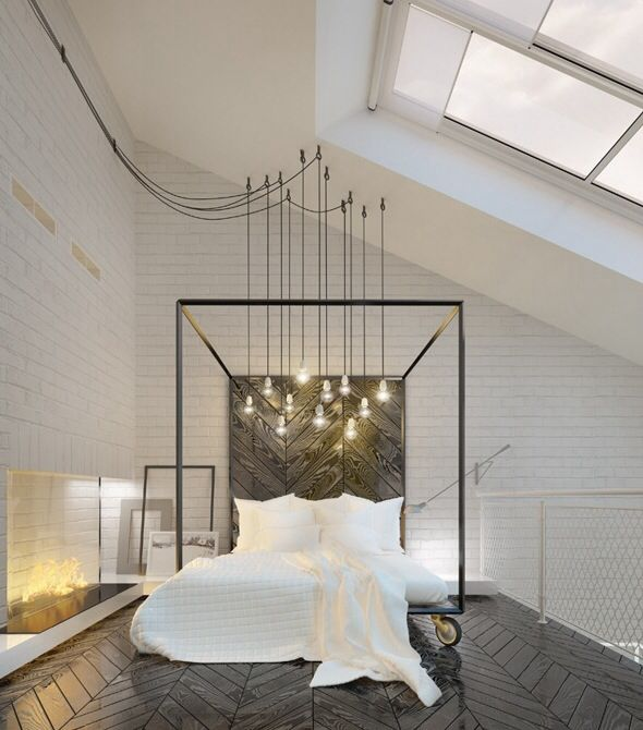 A way to bring interesting lights over the bed (centered in the room) in the guest room. I would not hang the pendants so low - but I like the idea of draping them from the existing track light junction box. I also like the large exposed eye hooks.
