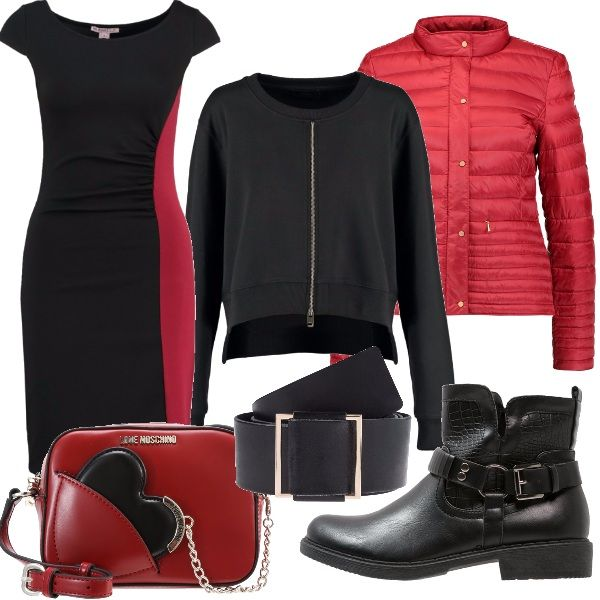 Per questo outfit: vestito bicolore da usare con la cintura nera a vita, abbinato alla felpina nera corta con zip e al piumino corto rosso fuoco. A completare il look stivaletti bassi con fibbia a tracolla rossa e nera.