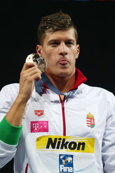 Gold medal winner Daniel Gyurta of Hungary celebrates on the podium after the Men's Breaststroke 200m Final on day fourteen of the 15th FINA World Championships at Palau Sant Jordi on August 2, 2013 in Barcelona, Spain.