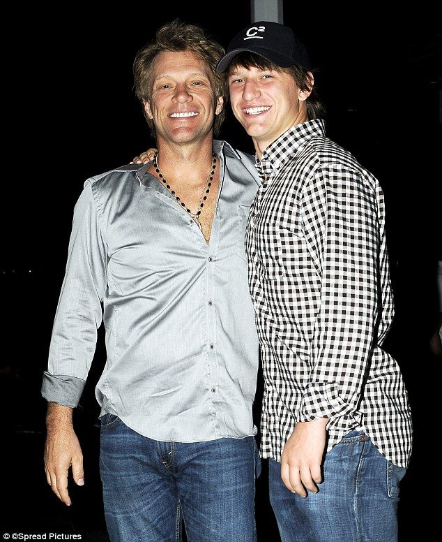 Father-son resemblance: Golden Globe nominee Jon Bon Jovi was all smiles while out for an evening stroll with his lookalike son Jesse James in St. Barts Wednesday