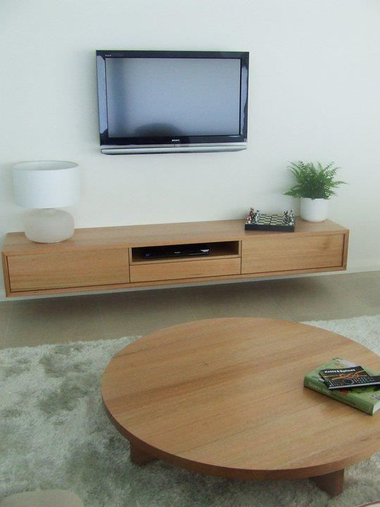Tassie Oak Solid Timber Entertainment Unit And Matching Round Lowline Coffee Table Wall