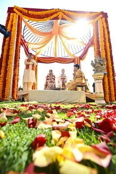 Gold and red mandap-- indian wedding