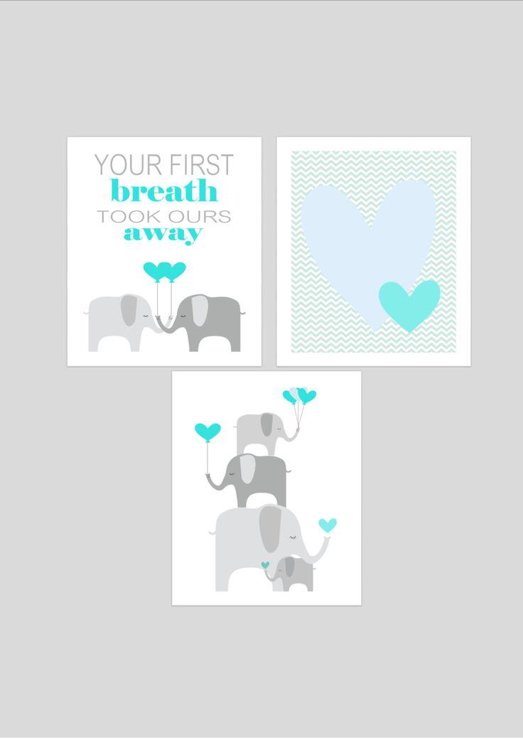 Elephants printable nursery art set, instant download, elephant nursery art, grey and aqua nursery decor, elephants nursery decor. £10.00, via Etsy.