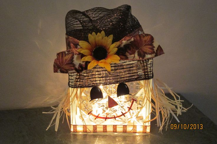 Scarecrow Lited Glass Block Hat Is Made Of Deco Mesh