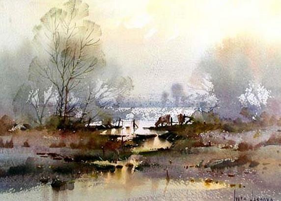 Ivars Jansons (b. 1939, Latvia - Australia) Lakeside Pastures. watercolor.