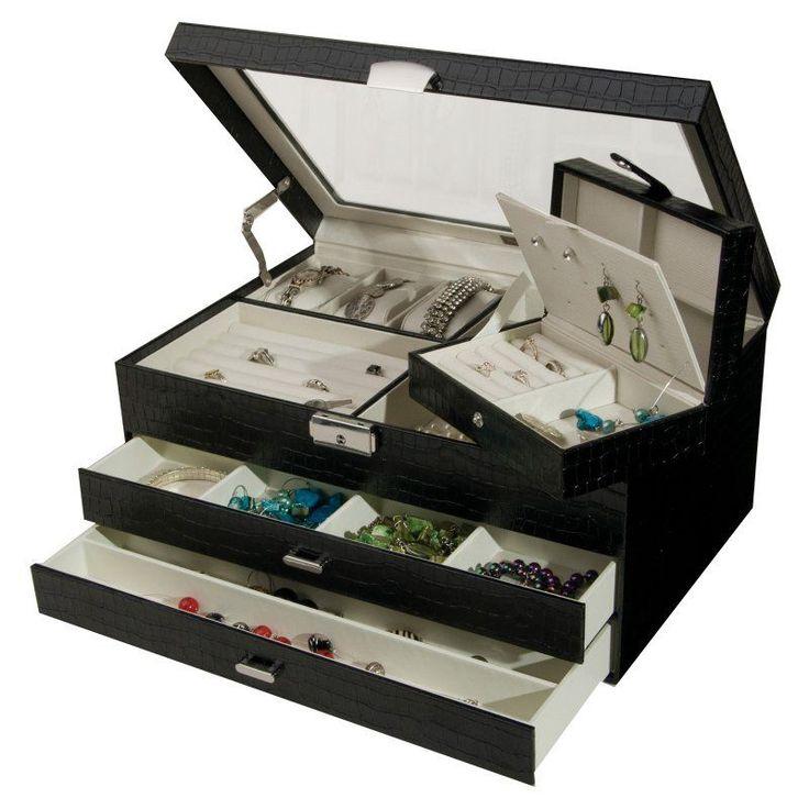 Mele & Co. Alana Glass Top Locking Jewelry Box - Black Crocodile Faux Leather - 13.25W x 6H in. - 0063462M